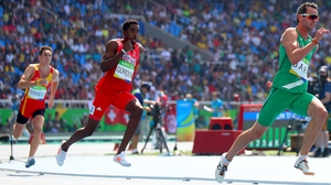 Thomas Barr (R) made the 400m hurdles