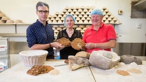 Dr Ben Gearey (L), Dr Katharina Becker and Declan Ryan of Arbutus Bread recreate Iron Age bread-making (Pic: UCC)
