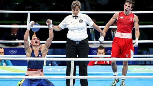 Michael Conlan (R) lost to Vladmir Nikitin despite appearing to have dominated their bout