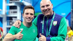 Ireland's Oliver Dingley (L) with his coach Damian Bell