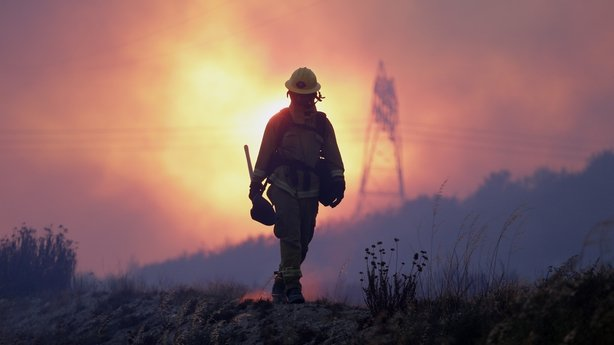 A firefighter keeps an eye on the Blue Cut fire line, north of Los Angeles