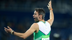 Thomas Barr is in action in the men's 400m hurdles final