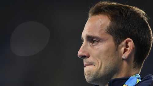 Renaud Lavillenie was visibly upset during the ceremony