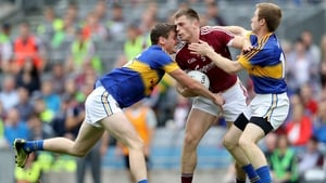 Conor Sweeney and Brian Fox keep tabs on Galway's Liam Silke during the All-Ireland quarter-final