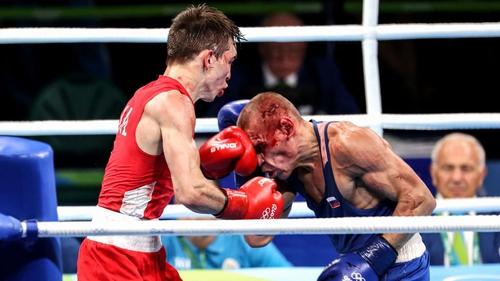 Michael Conlan was controversially beaten by Vladimir Nikitin (R)