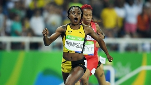 Elaine Thompson reacts as she wins 200m gold