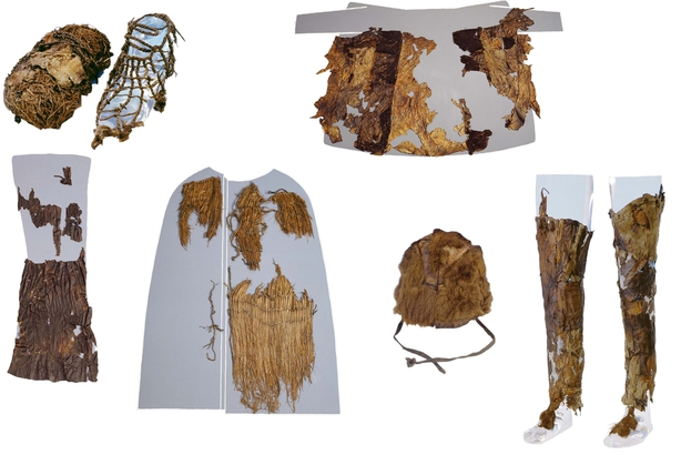 Assemblage of images of the Iceman's clothing as on display at the Museum of Archaeology, Bolzano. From Top Left: A shoe with grass interior (left) and leather exterior (right), the leather coat (reassembled by the museum), leather loincloth, grass coat, fur hat, and leather leggings. Credit: Institute for Mummies and the Iceman