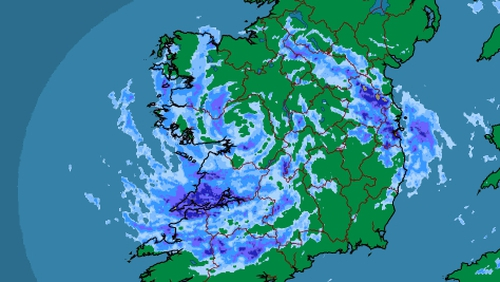 30-50mm of rain is expected to fall across the country by 6pm