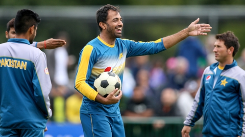 Pakistan players played soccer while they waited for the weather to improve