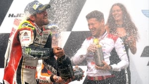 Cal Crutchlow celebrates in Brno
