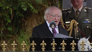 President Michael D Higgins delivered a speech at the ceremony in Béal na Bláth in Cork