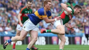 Barry Moran comes away with the ball at Croke Park