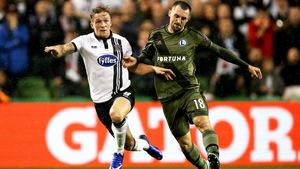Dundalk midfielder John Mountney in action during the first leg defeat to Legia Warsaw