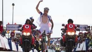 Alexandre Geniez crosses the line to take stage 3 of the Vuelta a Espana