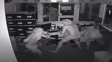CCTV footage released by police showed the men stealing a computer monitor before running away
