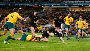 Dane Coles scoring a try as the All Blacks eased to victory
