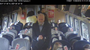 Images released by Virgin Trains show empty seats on the train Jeremy Corbyn was on