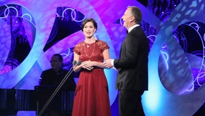 Rose of Tralee Maggie Rose McEldowney on stage with host Daithi O Se