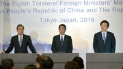 Wang Li (left) was speaking after a meeting with his Japanese and Korean counterparts