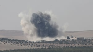 Smoke rising after attacks by war planes during the operation