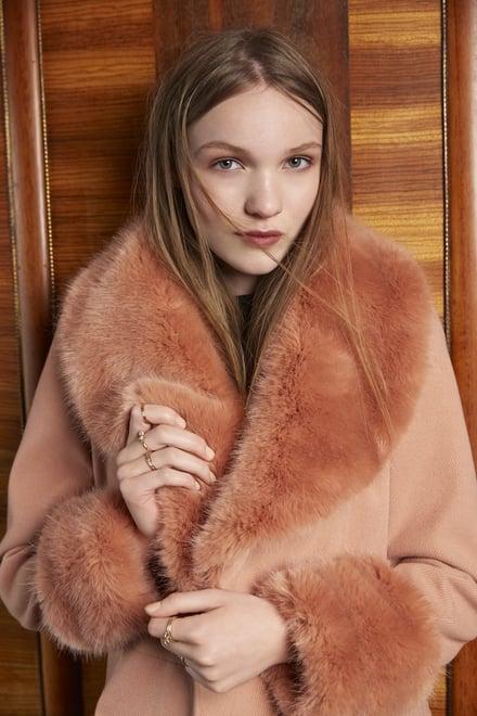 Arnotts Miss Selfridge Faux fur lined coat €125