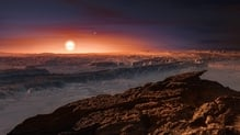 Artist's impression shows a view of the surface of the planet Proxima b orbiting the red dwarf star Proxima Centauri, the closest star to the Solar System (pic: ESO/M. Kornmesser)