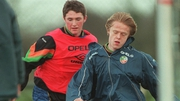Robbie Keane, seen here with Damien Duff, was part of Brian Kerr's U-18 side which won the 1998 European Championships