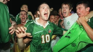 Keane celebrates after hearing that Croatia beat England to put them in the final, where they defeated Germany on penalties