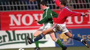 Keane's first senior cap came against the Czech Republic in March 1998