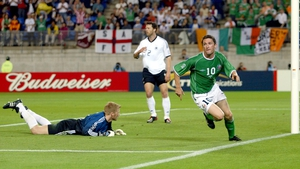 Robbie Keane wheels away after scoring the dramatic equaliser in the 1-1 draw against Germany at the 2002 World Cup