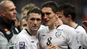 A dejected Keith Andrews and Keane following their controversial defeat in the 2010 World Cup play-off defeat to France