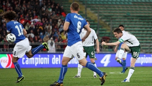 This effort came against Italy in a World Cup qualifier in Bari in 2009