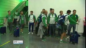 Members of Team Ireland arrive at Dublin Airport