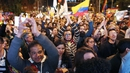 People celebrate the announcement in Bogota