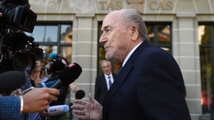 Sepp Blatter speaks to the media outside CAS headquarters in Lausanne