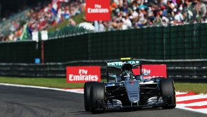 Nico Rosberg in action during practice in Belgium