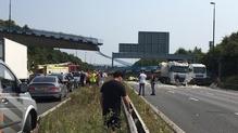 The pedestrian bridge collapsed onto the M20