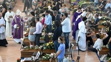 Mourners gathered for the state funeral in Ascoli Piceno