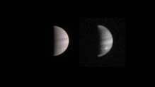 A handout composite photograph, made available by NASA today, shows a dual view of Jupiter taken on 23 August when NASA's Juno spacecraft was 4.4 million kms from Jupiter