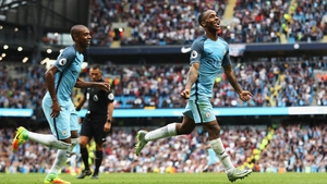 Raheem Sterling celebrates at the Etihad