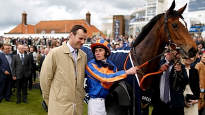 David Wachman (L) with Ryan Moore after he rode Legatissimo to win The Qipco 1000 Guineas Stakes at Newmarket last year