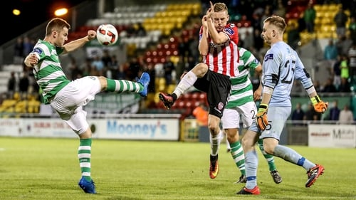 David O'Connor clears the ball from the Rovers defence