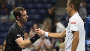 Andy Murray consoles Lukas Rosol at the end