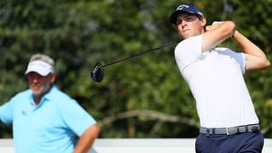 Thomas Pieters tees off on the first hole watched by Darren Clarke during Made in Denmark