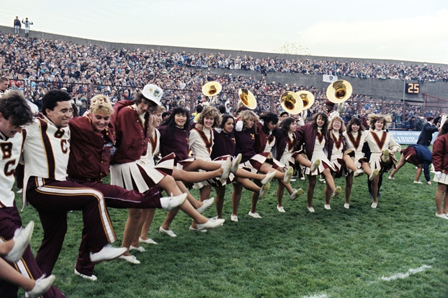 Cheerleaders and a brass band at Lansdowne Road (1988)
