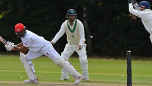 Ireland wicket-keeper Niall O'Brien goes for an attempted stumping against Ninad Shah of Hong Kong