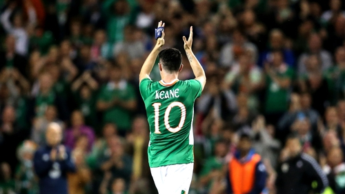 Robbie Keane receives a standing ovation as he leaves the field