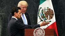Enrique Pena Nieto (L) welcomes Donald Trump, in Los Pinos, Mexico City