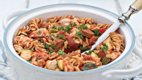 Aoife Hearne shares her recipe for chicken and chorizo pasta bake from her book The Plan. This dish is a great family favourite and is just 551 calories!
