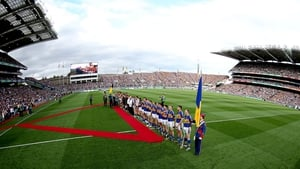 Kilkenny and Tipperary line up before the 2014 All-Ireland final replay